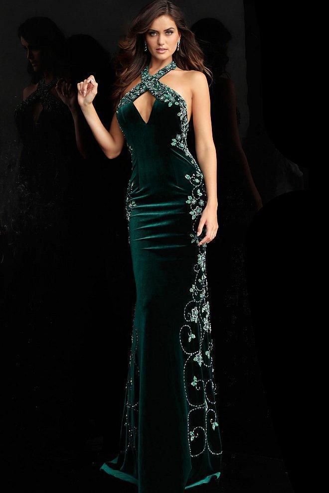 Jovani - 61655 Beaded Halter Trumpet Dress With Open Back