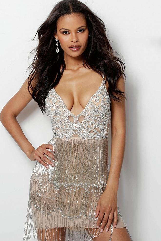 Jovani - 61895 Crystal Embellished Plunging V-neck Fringe Sheath Dress