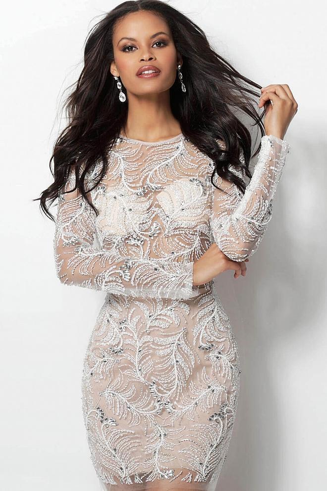 Jovani - 62009 Fully Beaded Long Sleeve Sheath Cocktail Dress