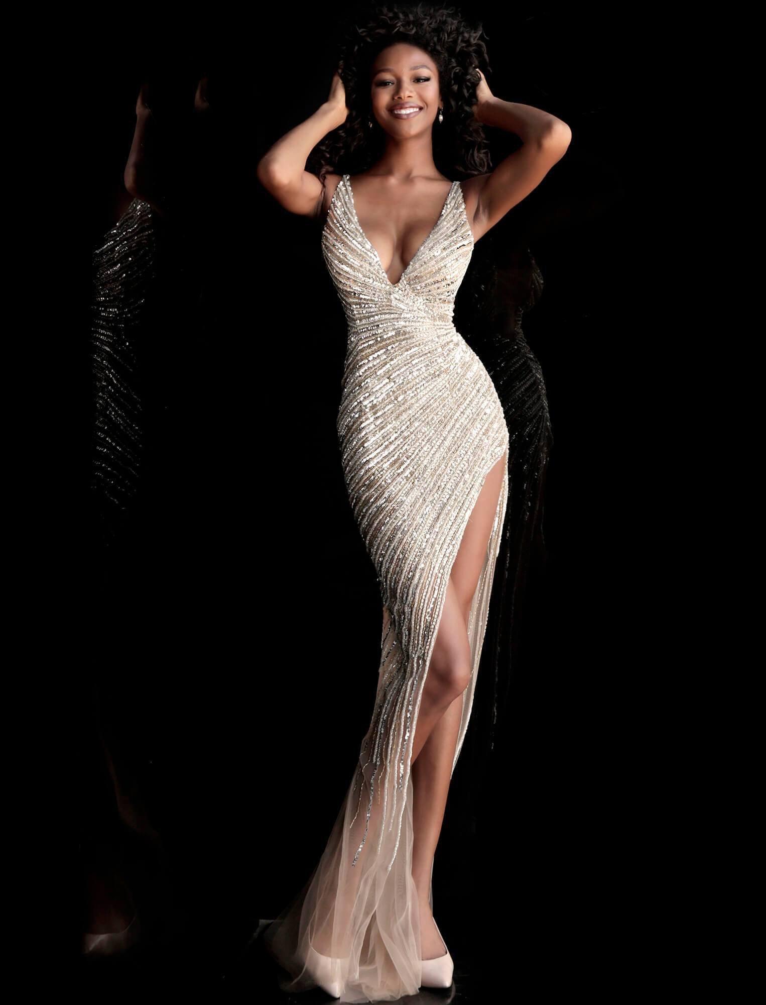 Jovani - 63405 Asymmetrical Beaded Illusion High Slit Gown