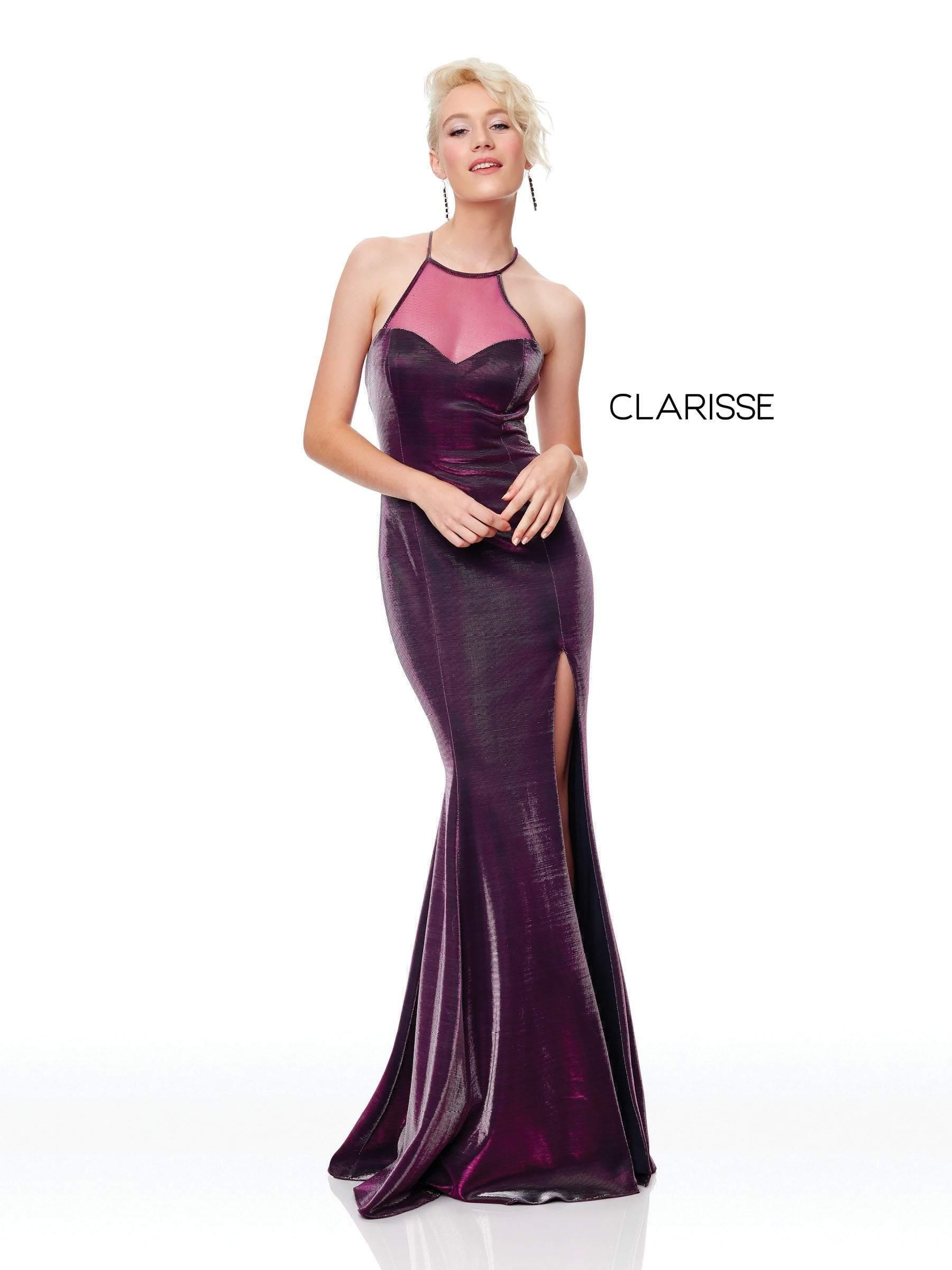 Clarisse - 3729 Sleeveless Halter Neck Trumpet Dress With Slit