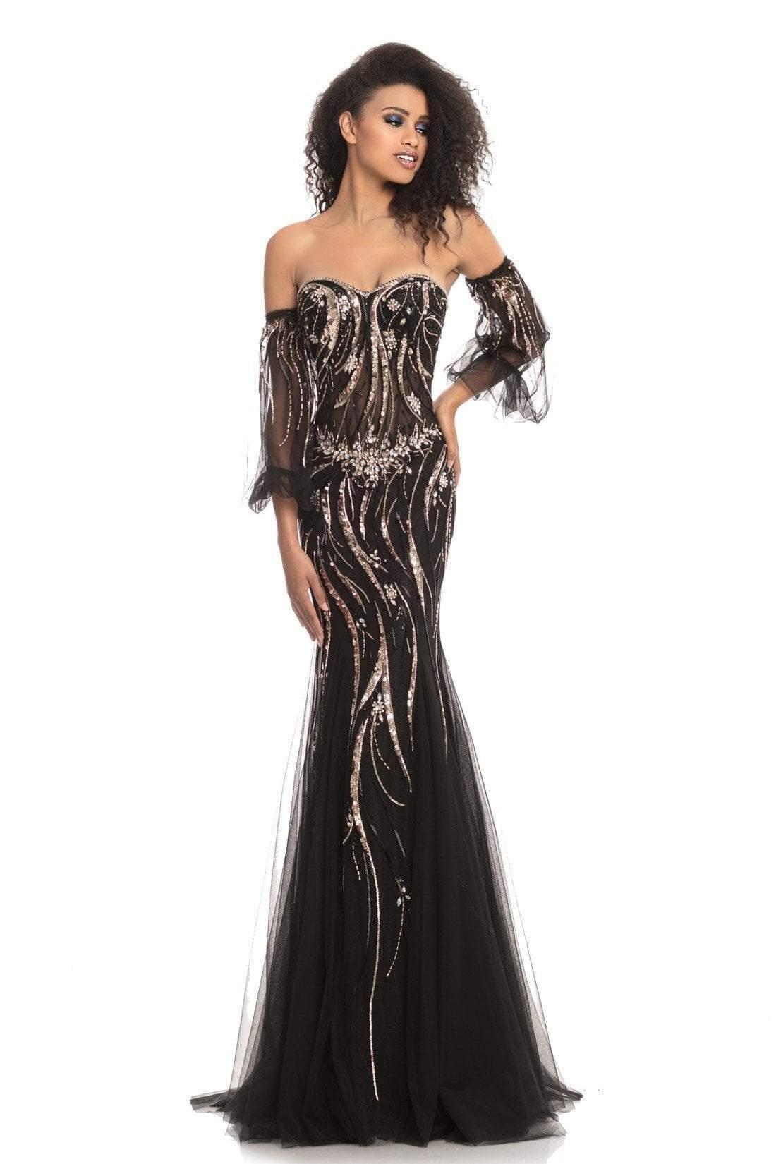 Johnathan Kayne - 9003 Embellished Sweetheart Glitter Jersey Dress