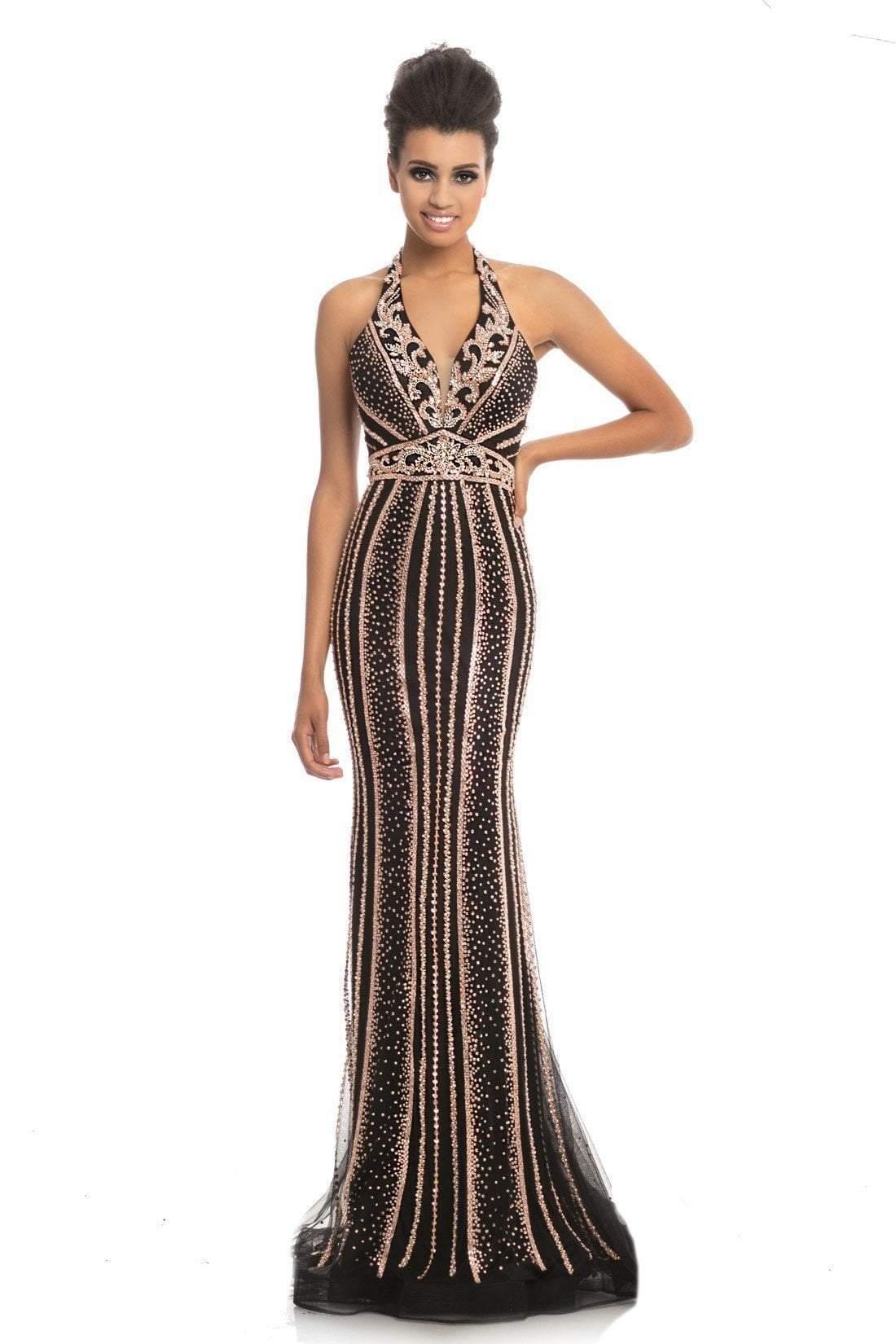 Johnathan Kayne - 9004 Plunging Halter Beaded Mermaid Gown