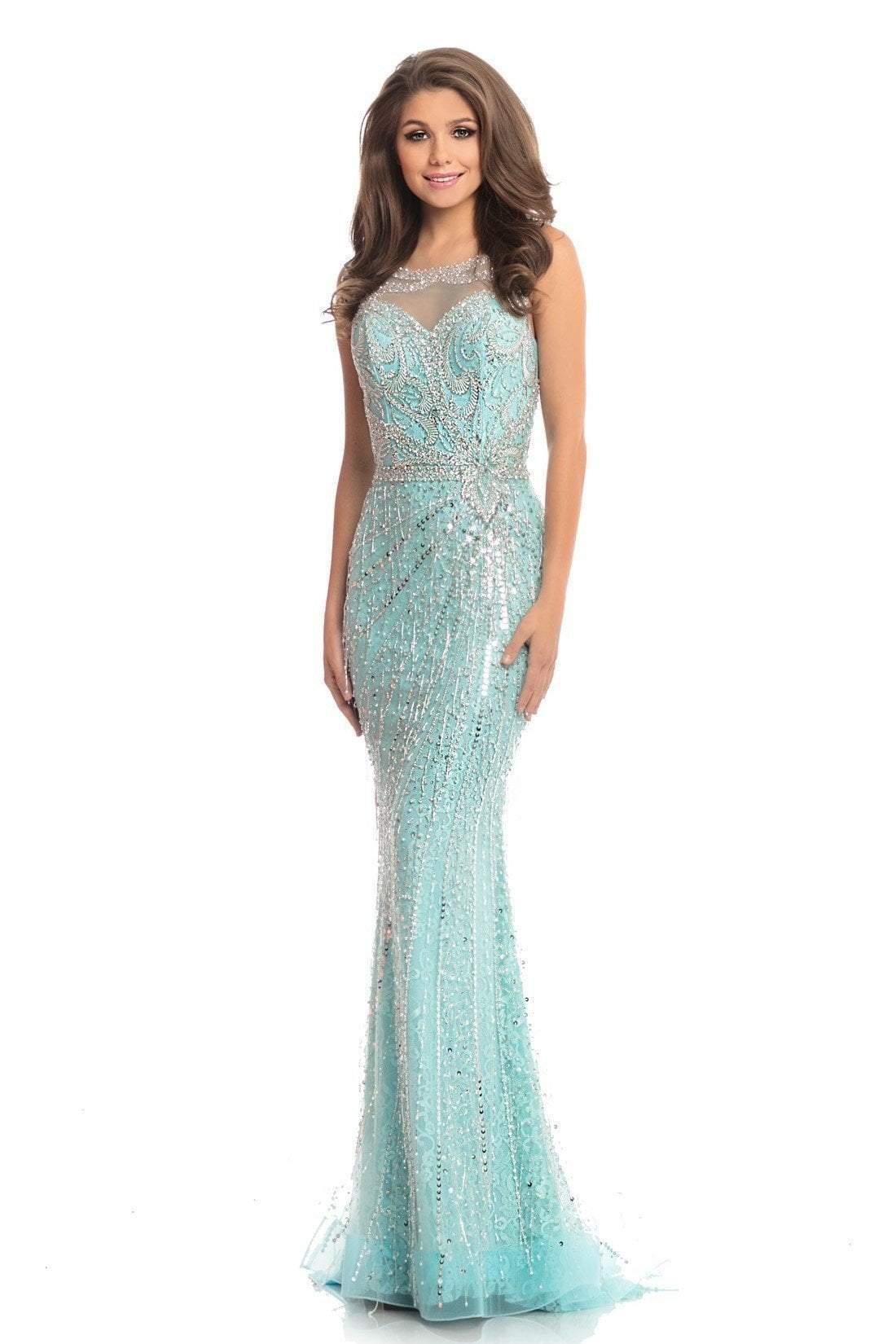 Johnathan Kayne - 9006 Illusion Jewel Bead-Fringed Mermaid Gown