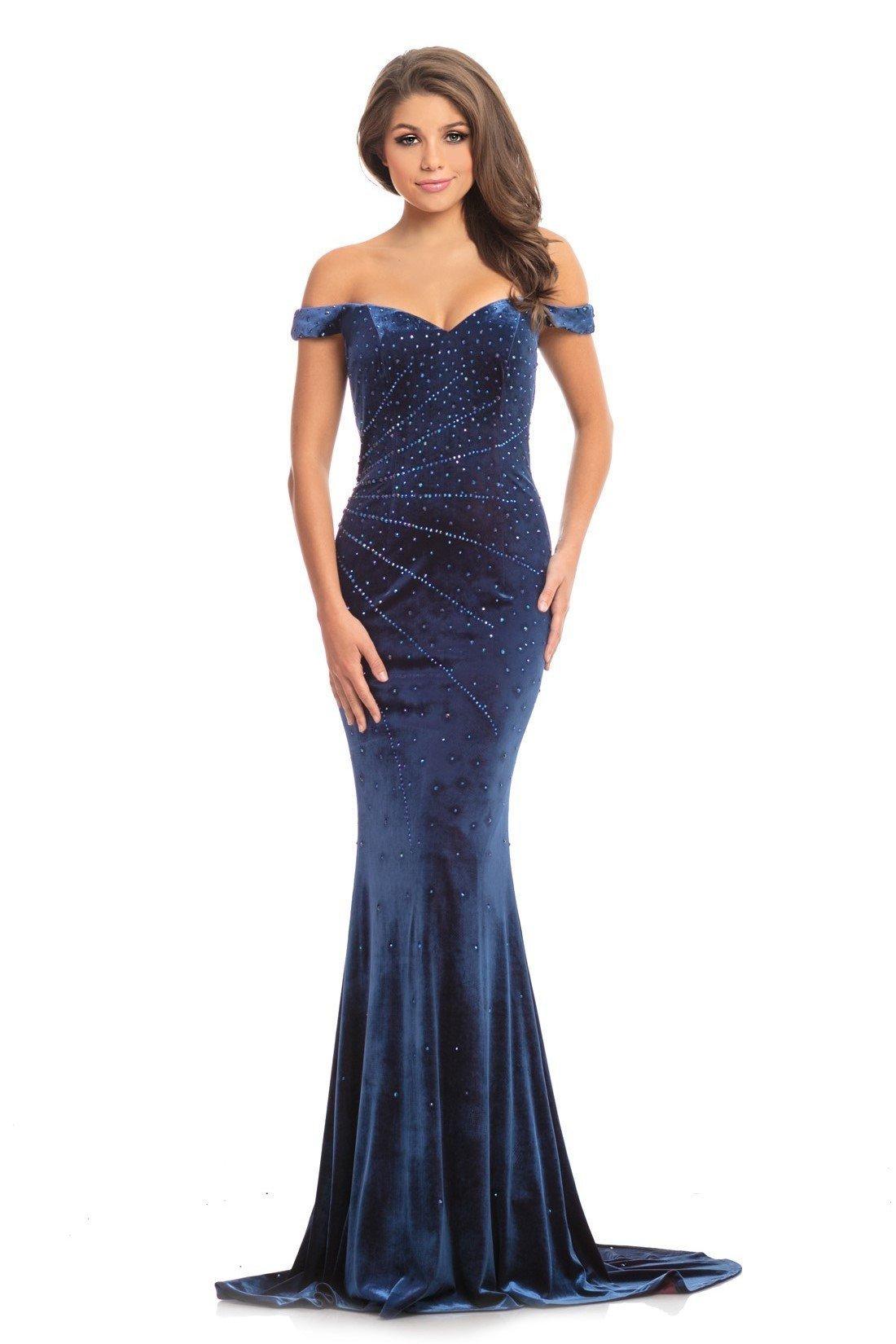 Johnathan Kayne - 9011 Radiantly Beaded Off Shoulder Velvet Gown