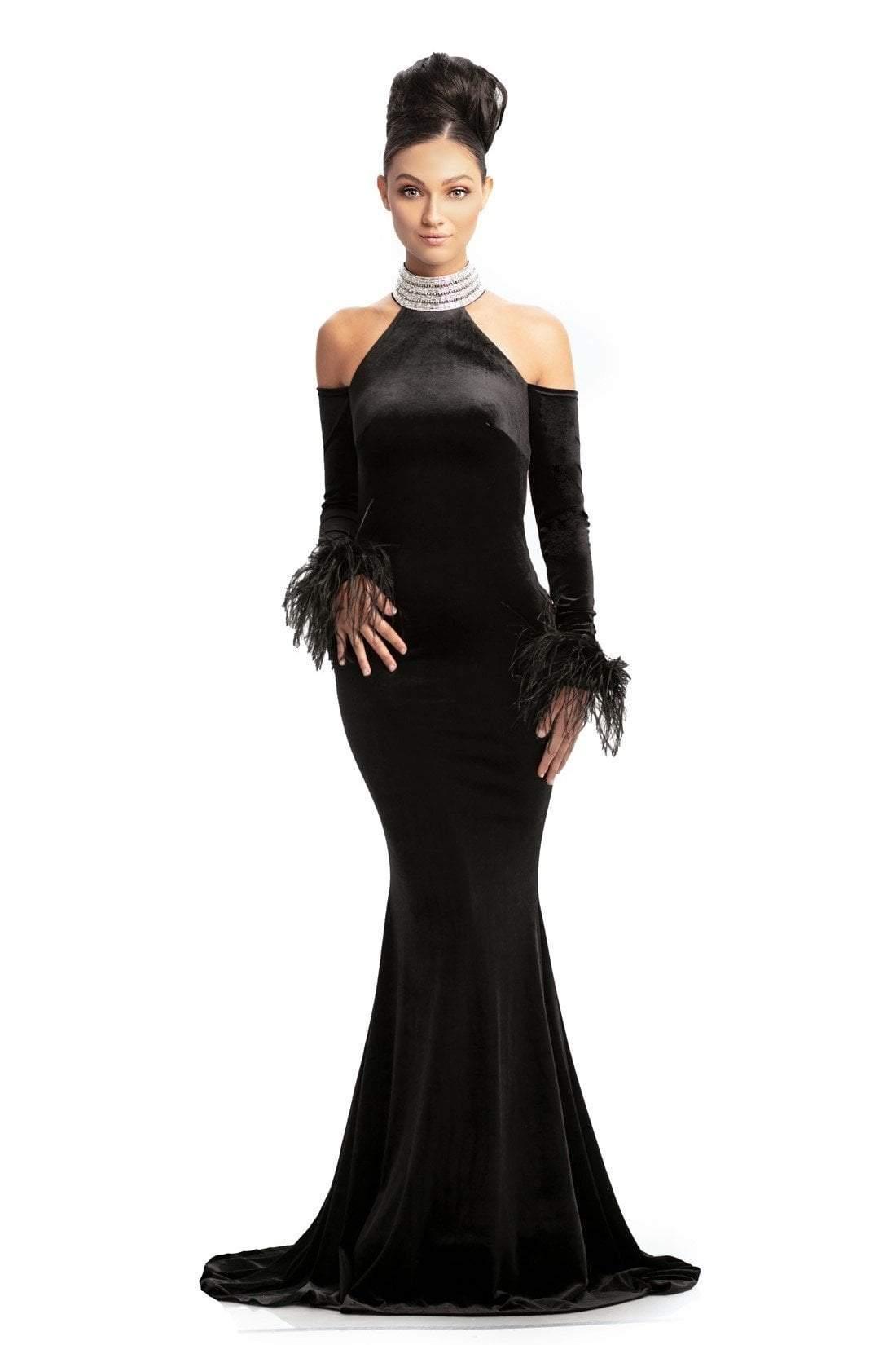 Johnathan Kayne - 9015 Crystal Embellished High Velvet Mermaid Gown