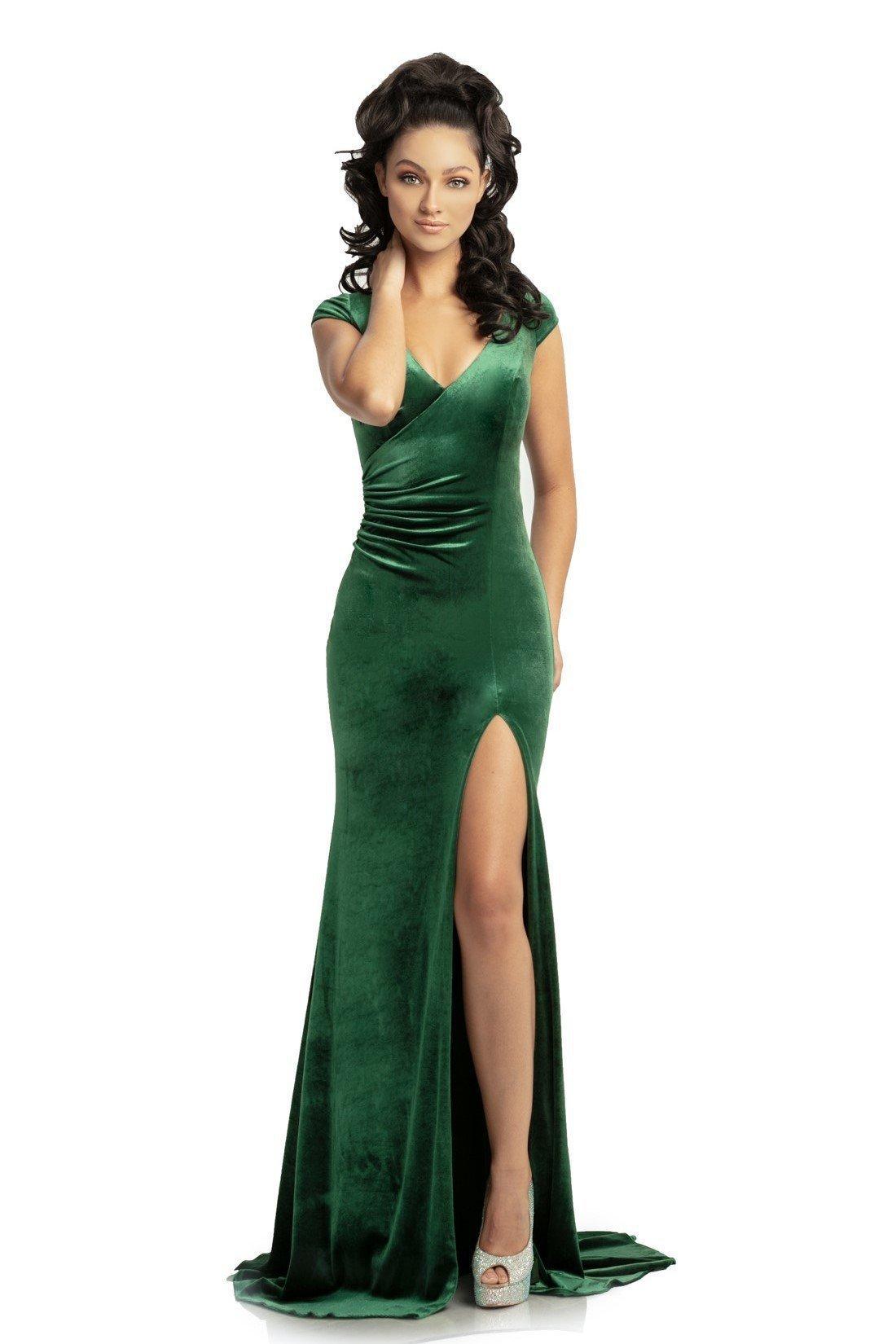 Johnathan Kayne - 9018 Surplice Style Velvet Sheath Evening Gown