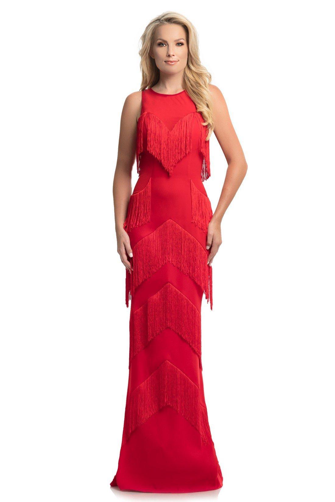 Johnathan Kayne - 9020 Sleeveless Fringe-Detailed Sheath Gown