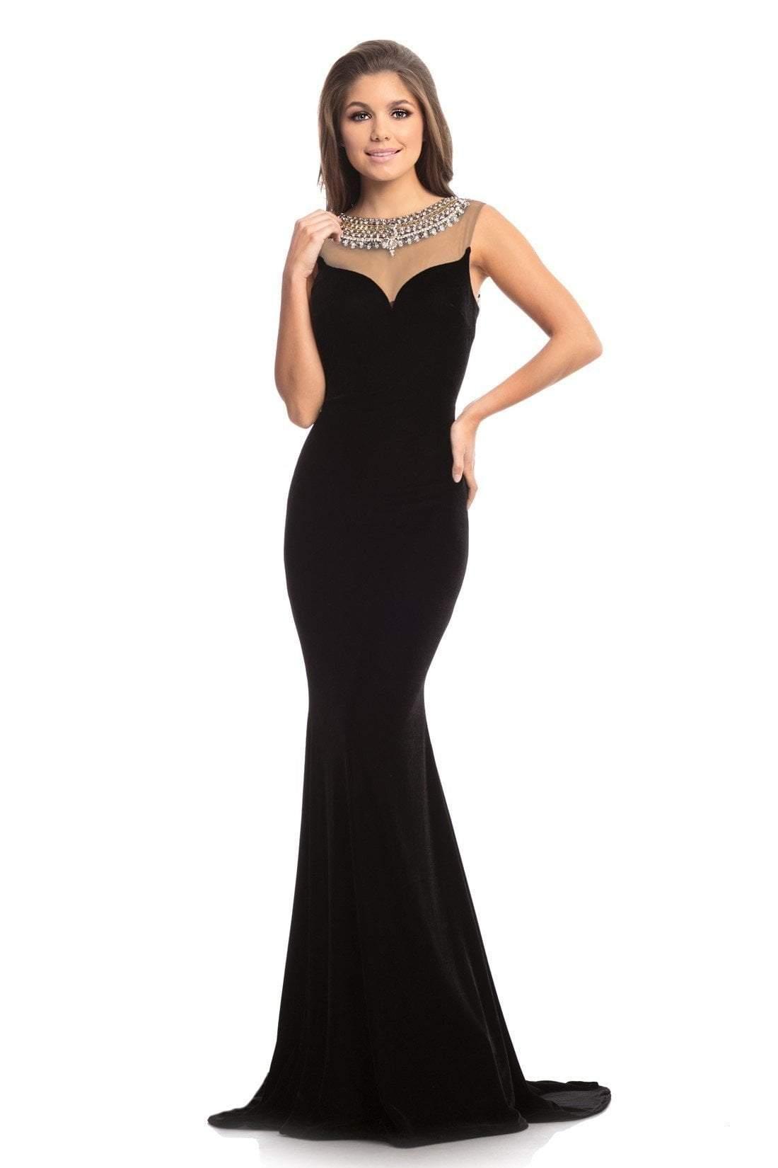 Johnathan Kayne - 9024 Jewel Framed Back Velvet Long Evening Gown