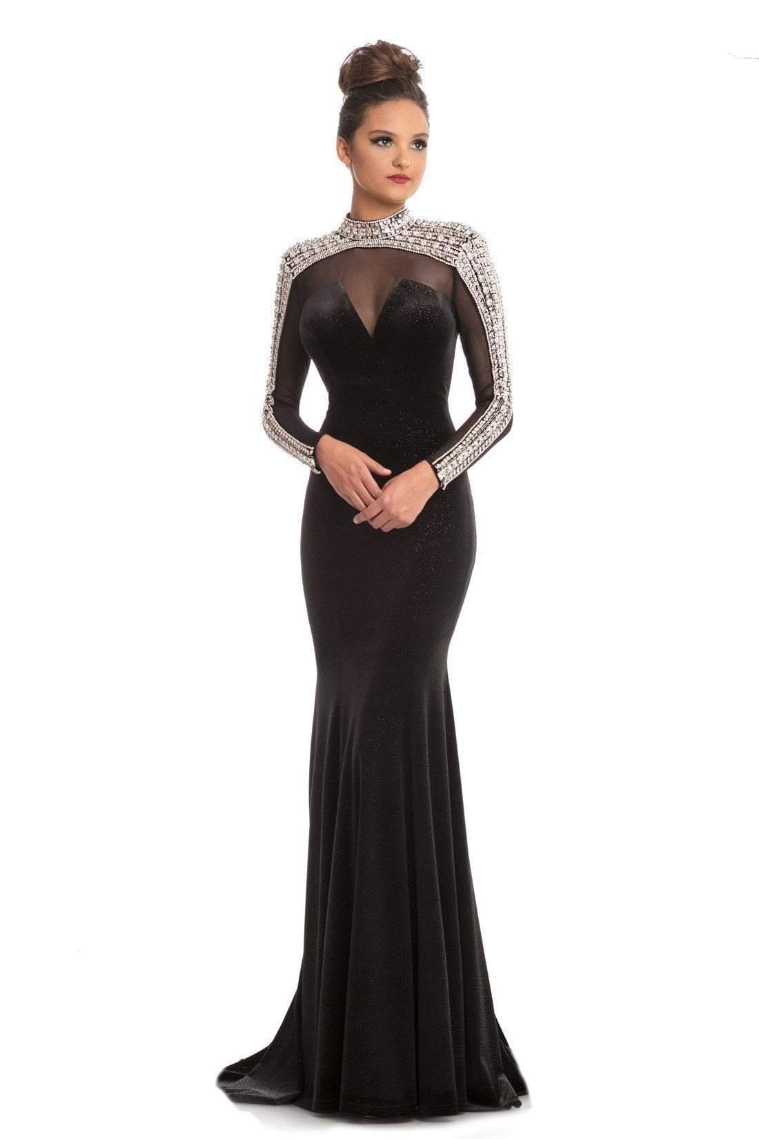 Johnathan Kayne - 9026 Bejeweled High Neck Trumpet Dress