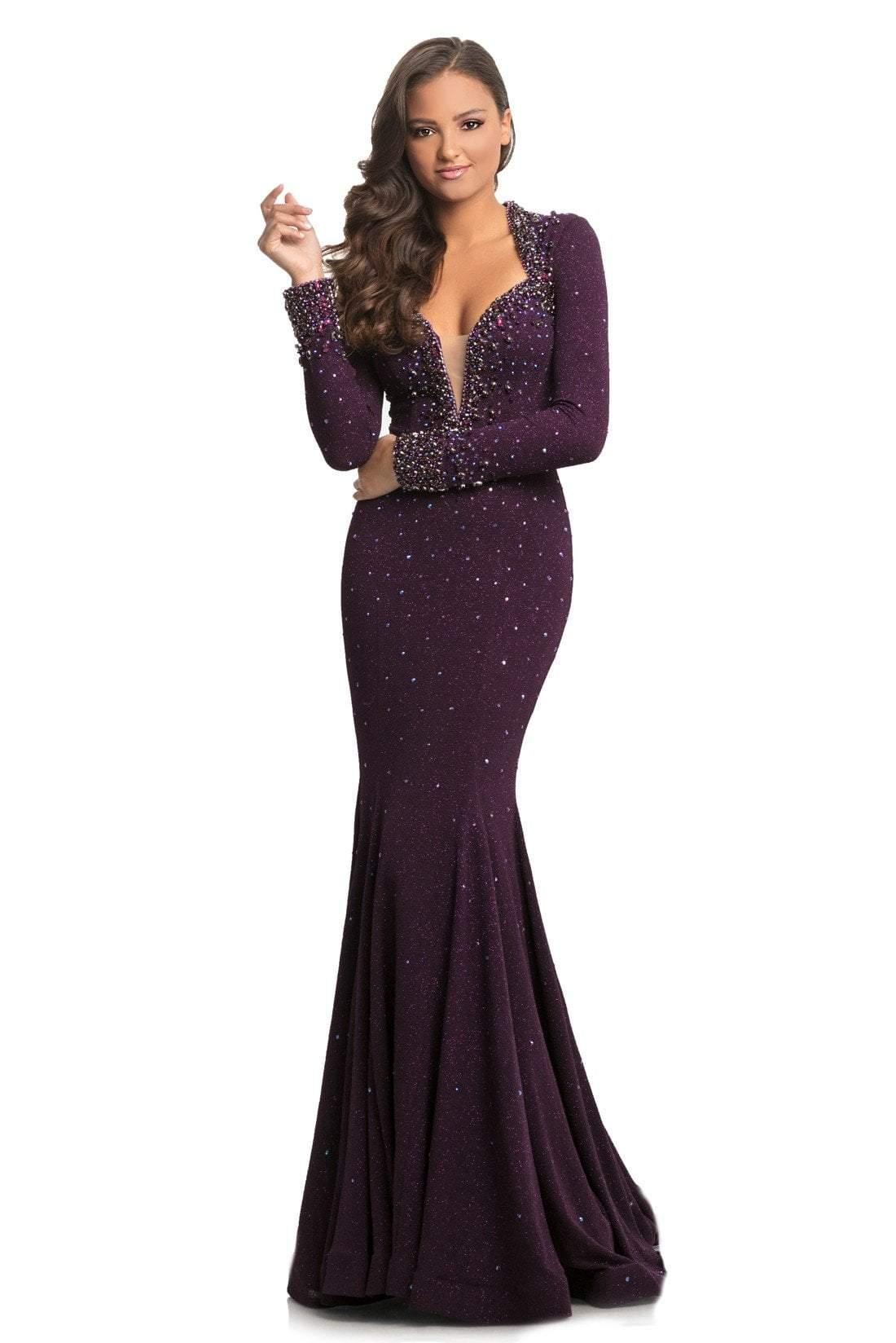 Johnathan Kayne - 9029 Embellished Long Sleeve V-neck Trumpet Dress