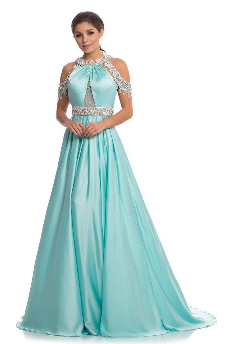 Johnathan Kayne - 9034 Embellished Halter A-line Dress With Train