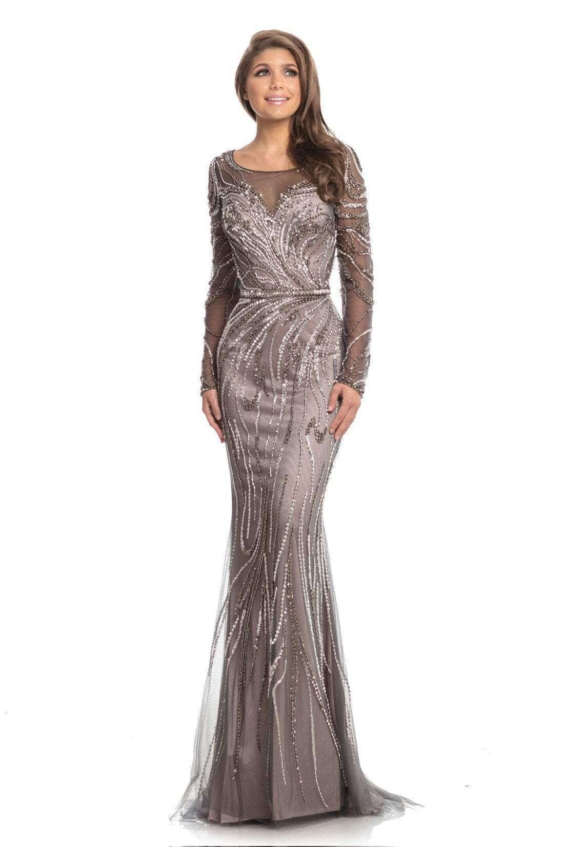 Johnathan Kayne - 9037 Embellished Long Sleeve Bateau Trumpet Dress