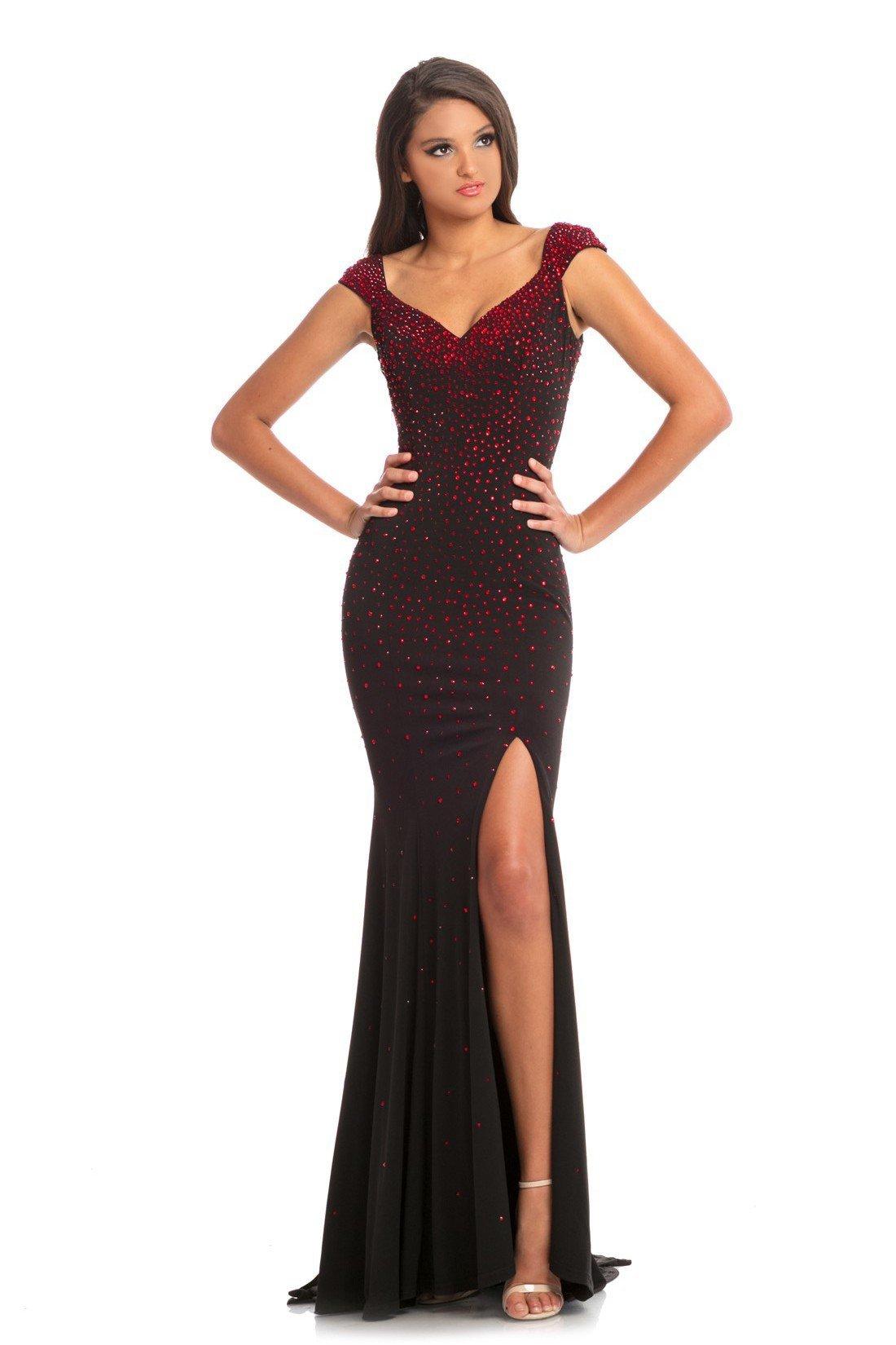 Johnathan Kayne - 9041 Embellished Cap Sleeve V-neck Trumpet Dress