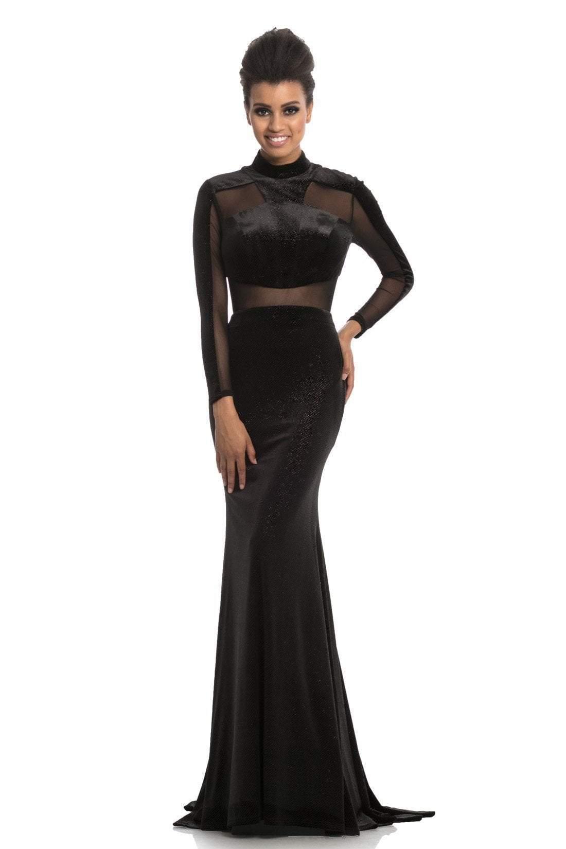 Johnathan Kayne - 9059 High Neck Long Sleeves Mermaid Gown