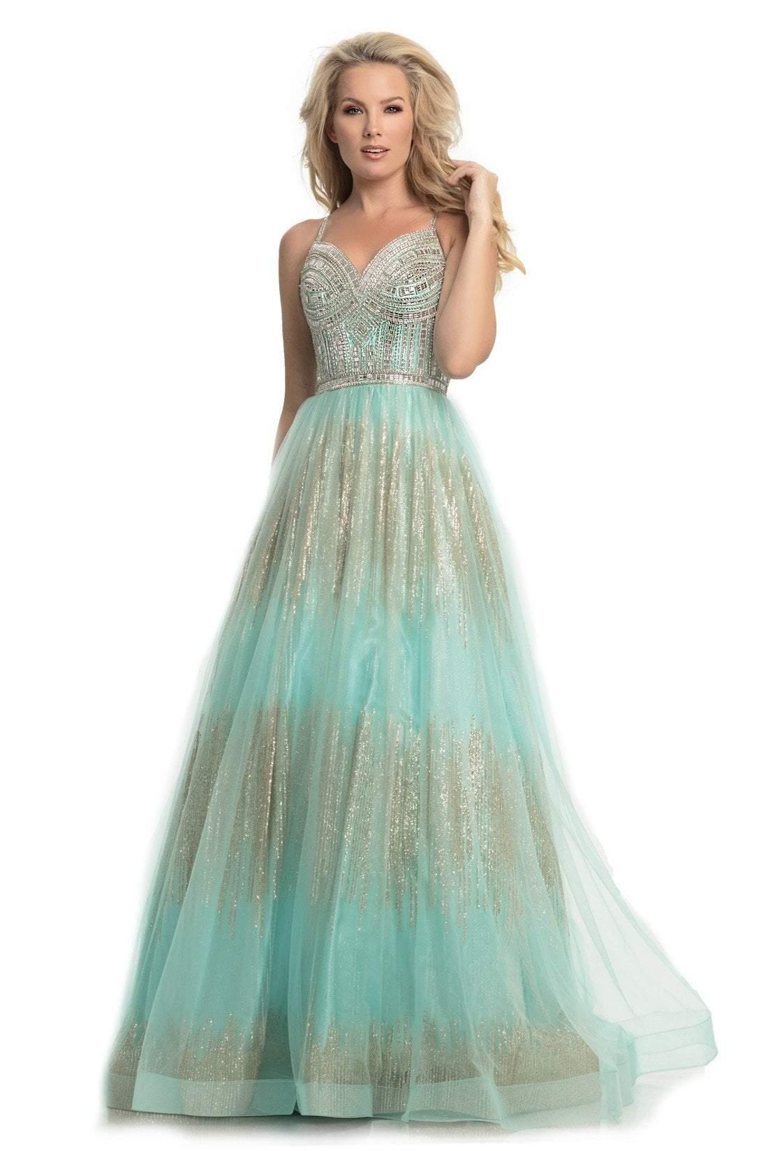 Johnathan Kayne - 9067 Sleeveless Sparkly Glitter Mesh A-Line Gown