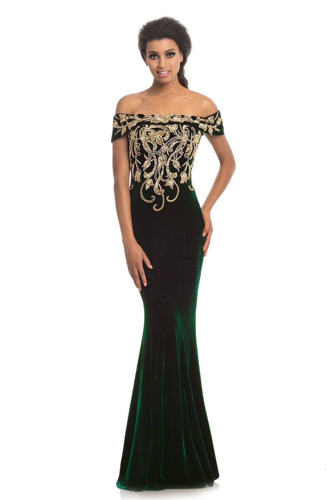 Johnathan Kayne - 9076 Bead Embellished Off-Shoulder Gown