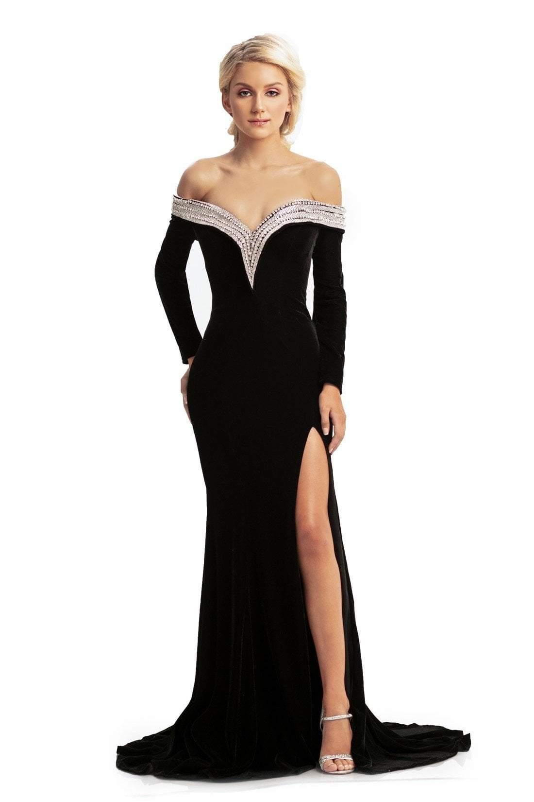 Johnathan Kayne - 9084 Embellished Long Sleeve Off-Shoulder Dress