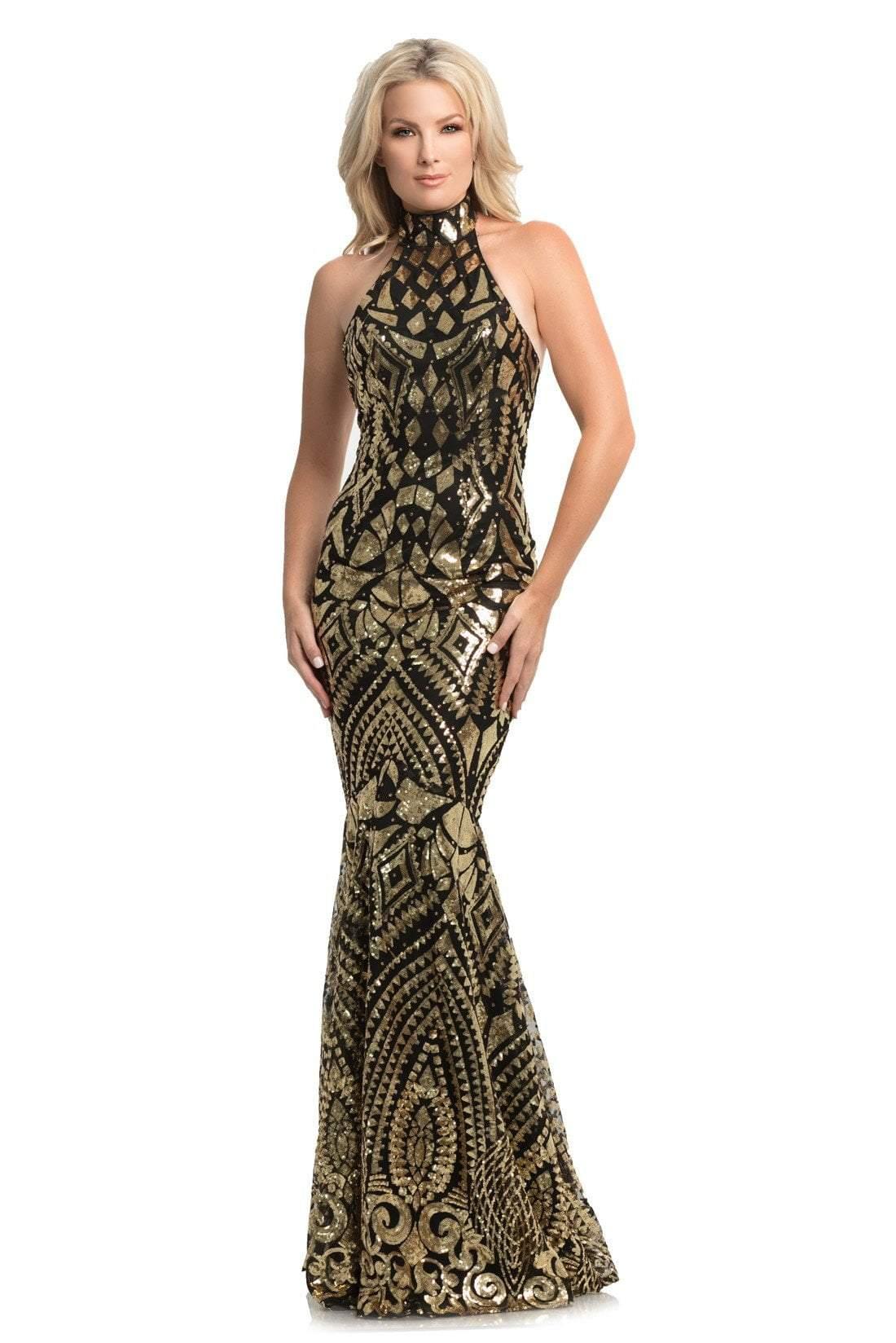Johnathan Kayne - 9086 Sequin Print High Nek Mermaid Gown