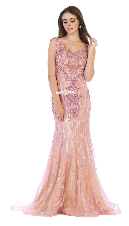 May Queen - RQ7640 Embellished Wide V-neck Trumpet Dress