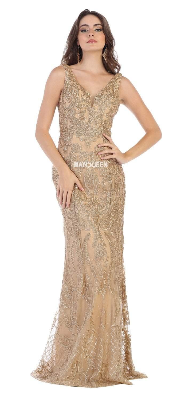 May Queen - RQ7662 Applique V-neck Trumpet Dress