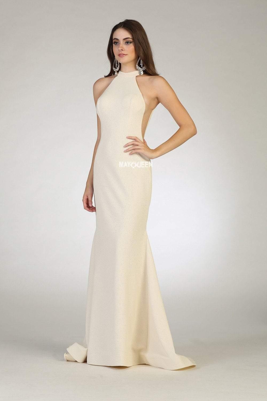 May Queen - RQ7664 Sleeveless High Halter Trumpet Dress