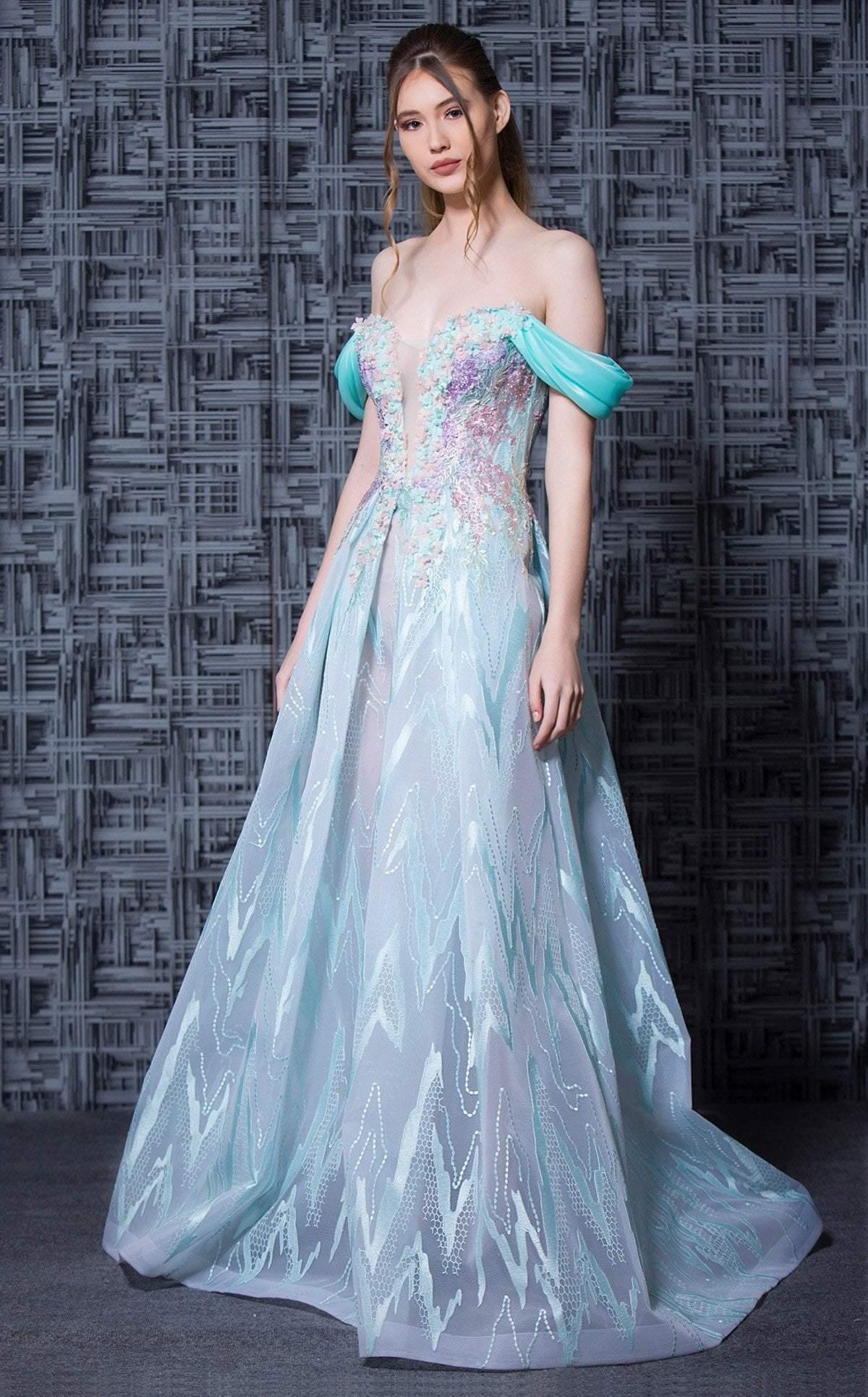 MNM COUTURE - K3605 Floral Lace Off-Shoulder A-Line Dress