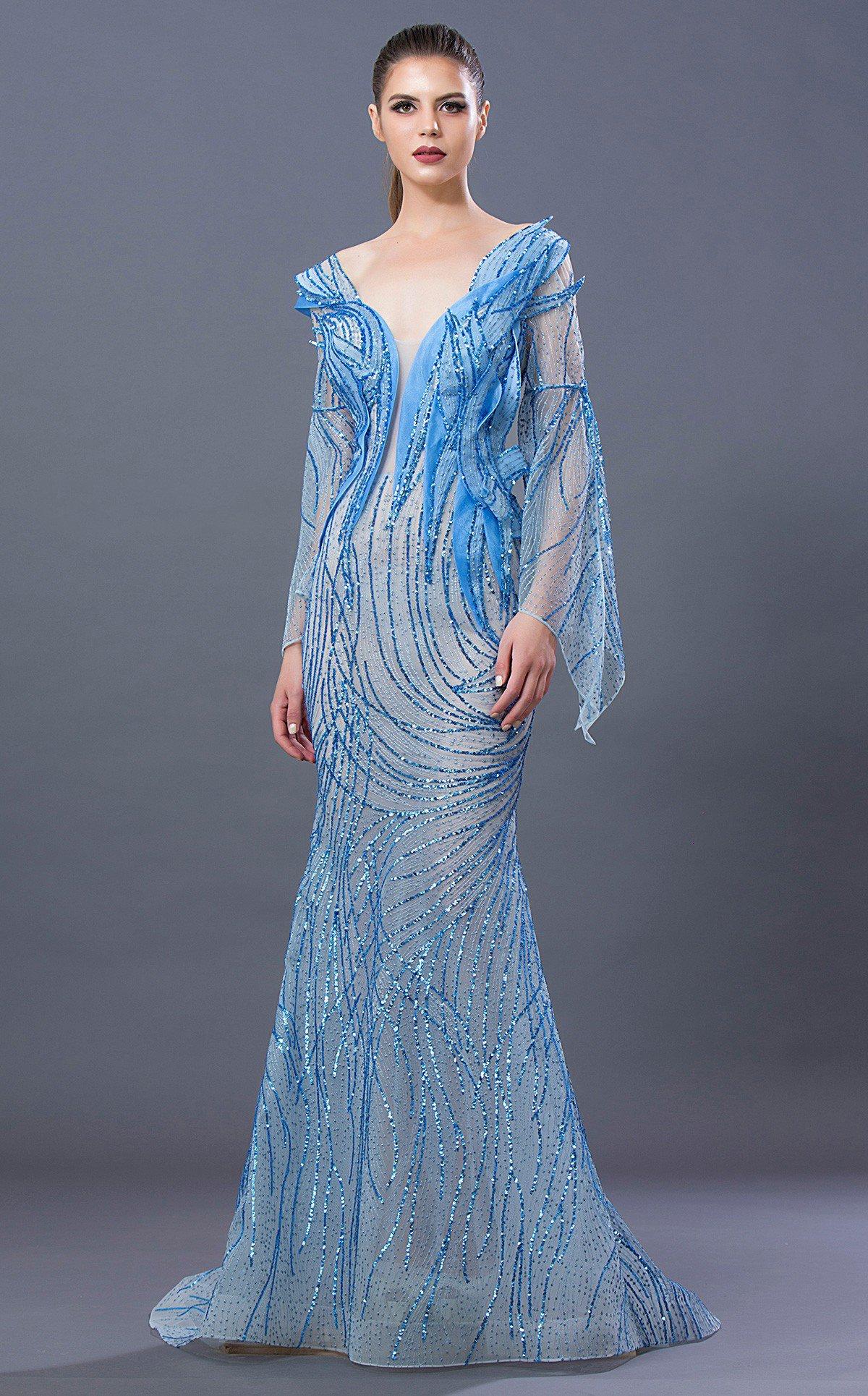 MNM COUTURE - K3657 Embellished Plunging V-neck Trumpet Dress