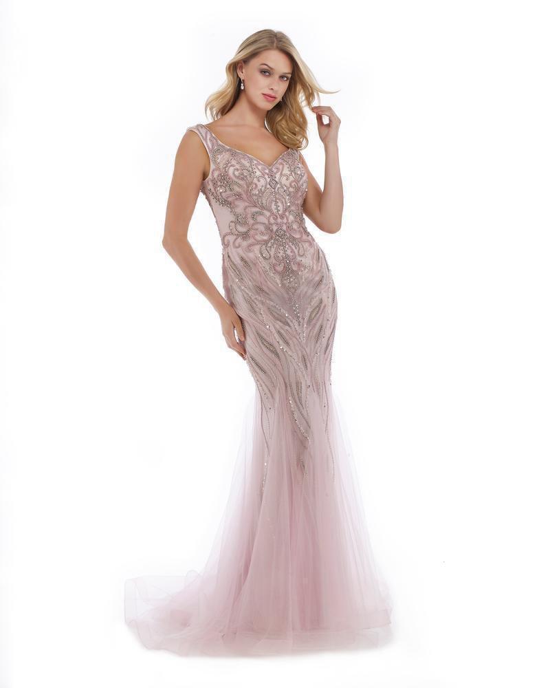 Morrell Maxie - 15976 Metallic Beaded Godet Streamed Gown