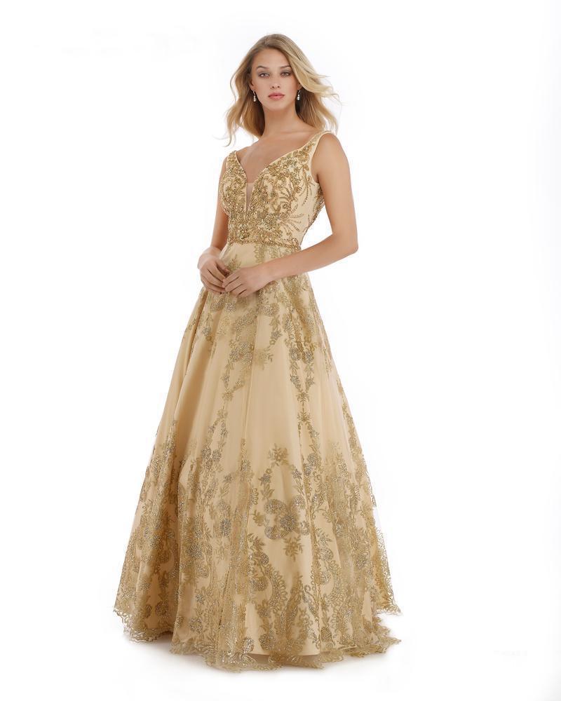 Morrell Maxie - 15983 Embellished Deep V-neck A-line Dress
