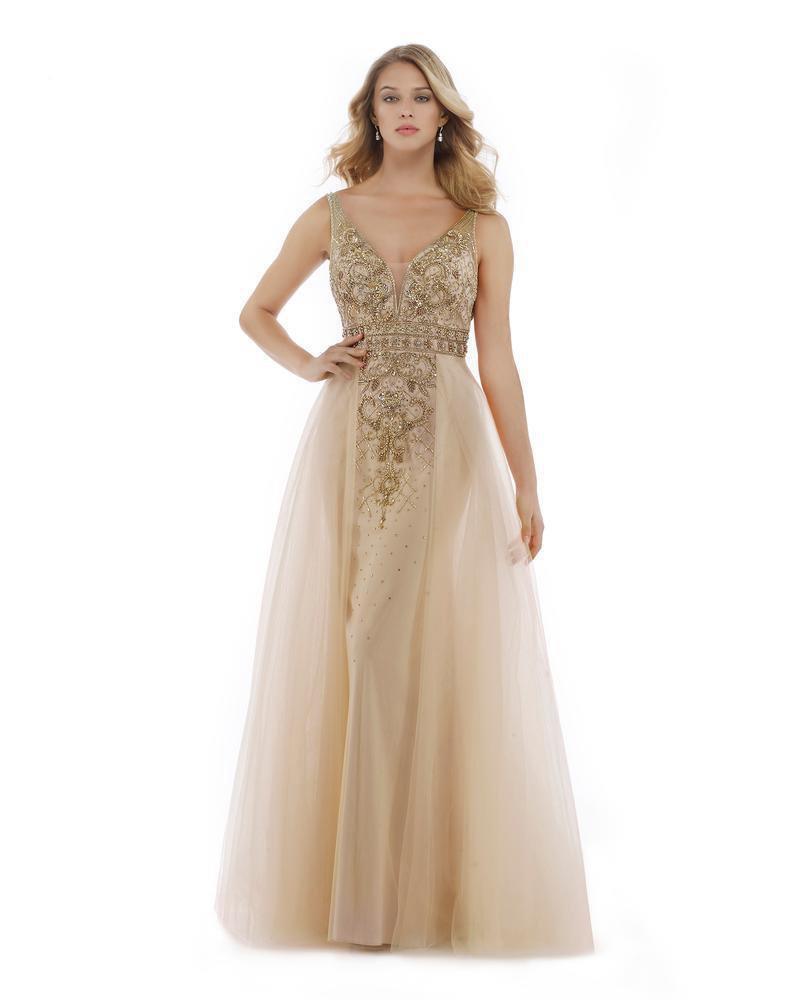 Morrell Maxie - 15999 Embellished Plunging V-neck Tulle A-line Dress