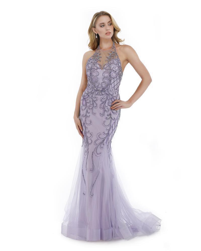 Morrell Maxie - 16003 Illusion Halter Neck Beaded Mermaid Gown