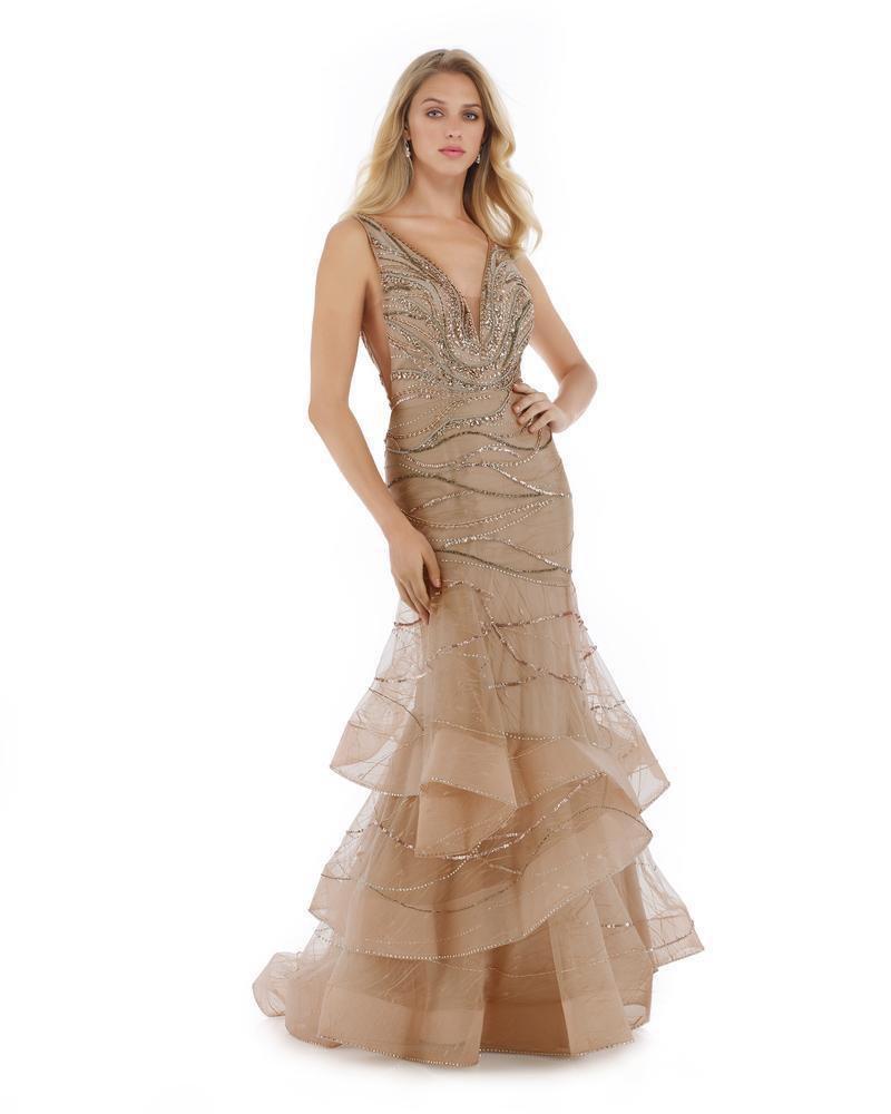 Morrell Maxie - 16004 Lace Deep V-neck Tiered Mermaid Dress