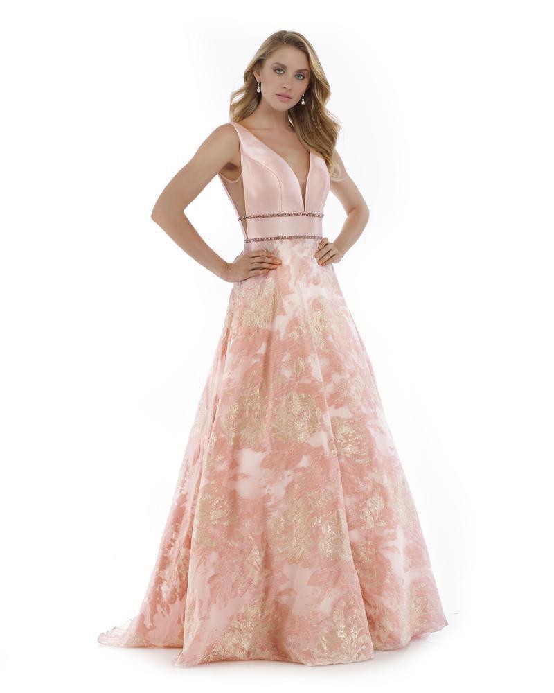Morrell Maxie - 16011 Sleeveless Illusion V Neck Brocade Mikado Gown