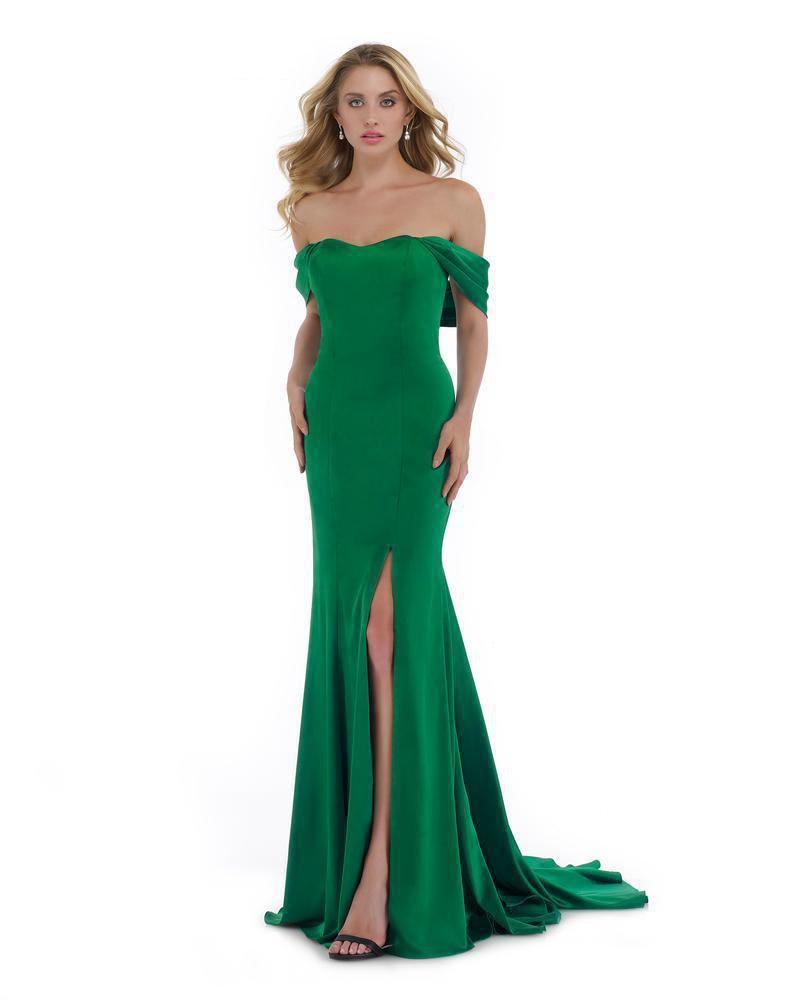 Morrell Maxie - 16014 Off-Shoulder Satin Charmeuse Trumpet Dress