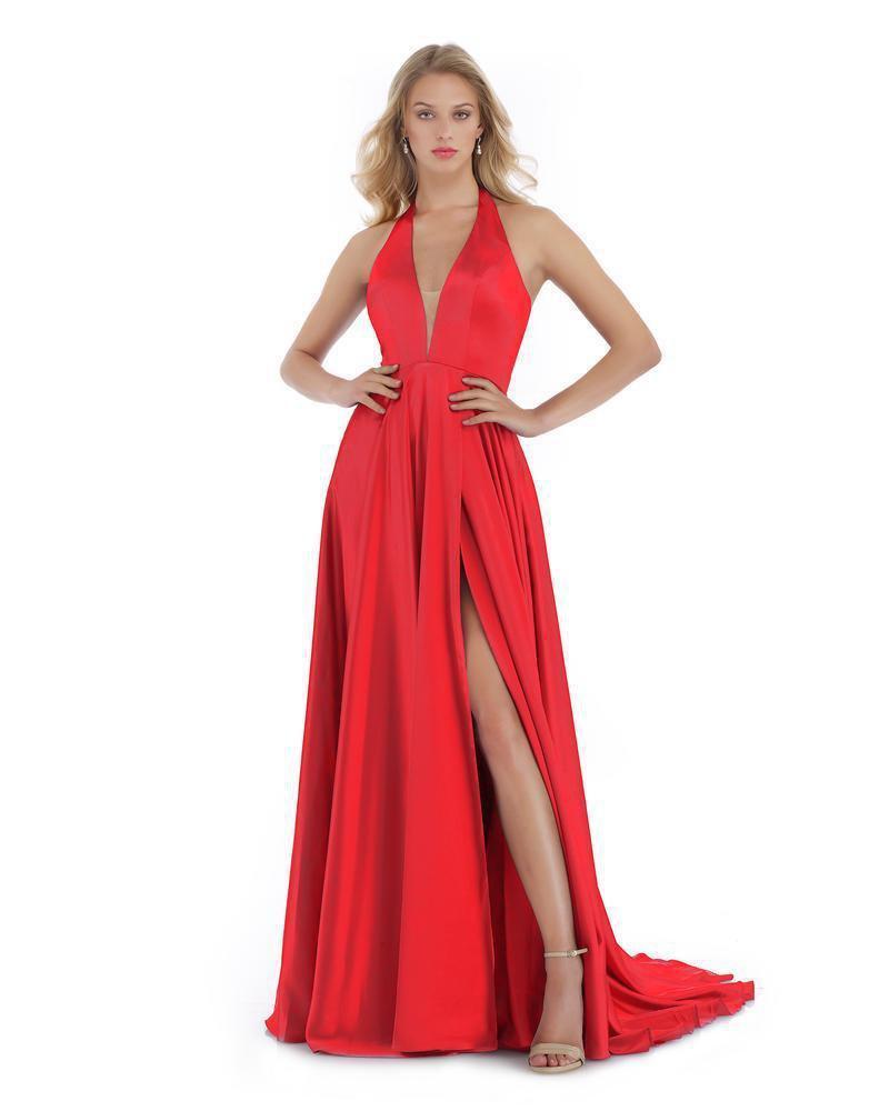 Morrell Maxie - 16016 Deep Halter V-neck Satin Charmeuse A-line Dress