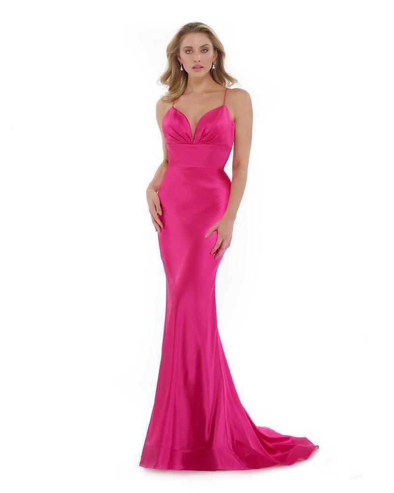 Morrell Maxie - 16020 Deep V-neck Satin Charmeuse Mermaid Dress
