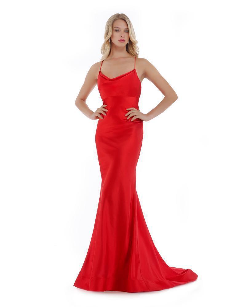 Morrell Maxie - 16021 Draped Neckline Satin Charmeuse Formal Dress
