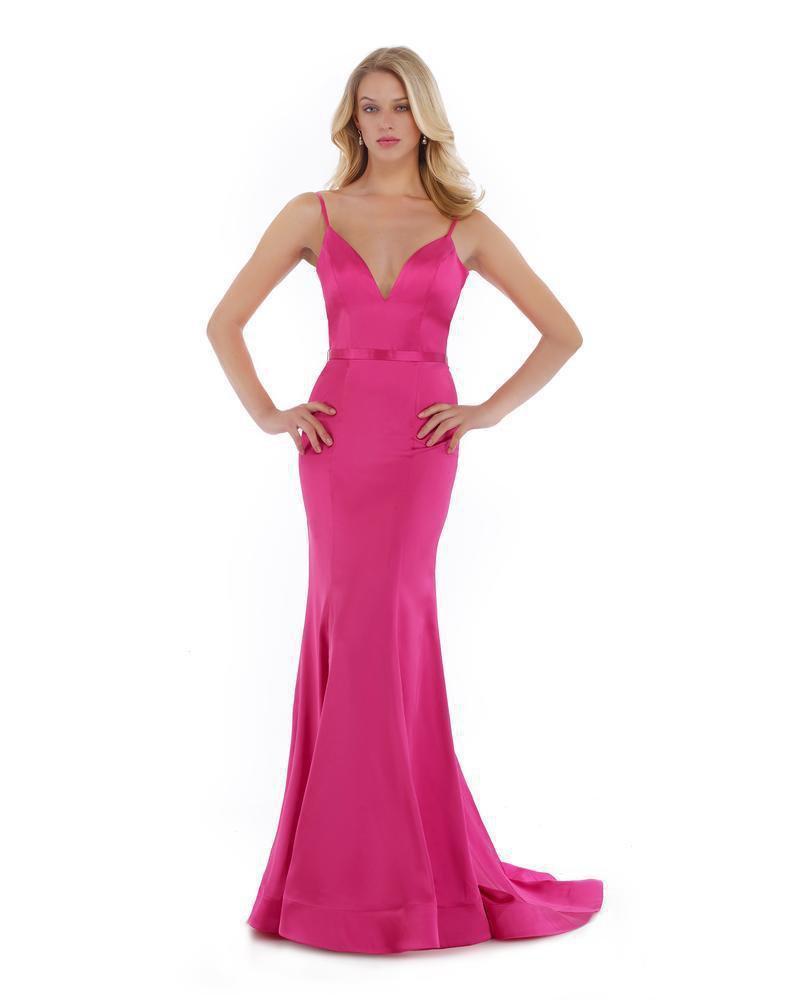 Morrell Maxie - 16022 Sleeveless V Neckline Satin Charmeuse Gown