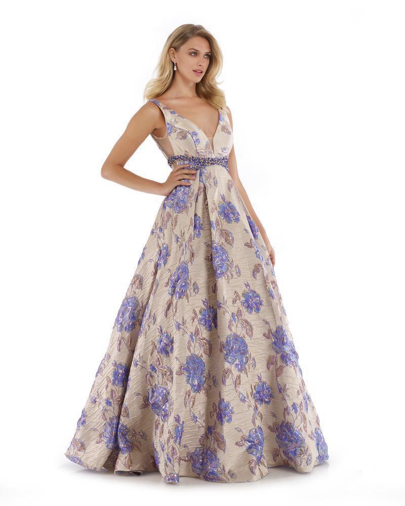 Morrell Maxie - 16028 Metallic Brocade Print Pleated A-line Dress