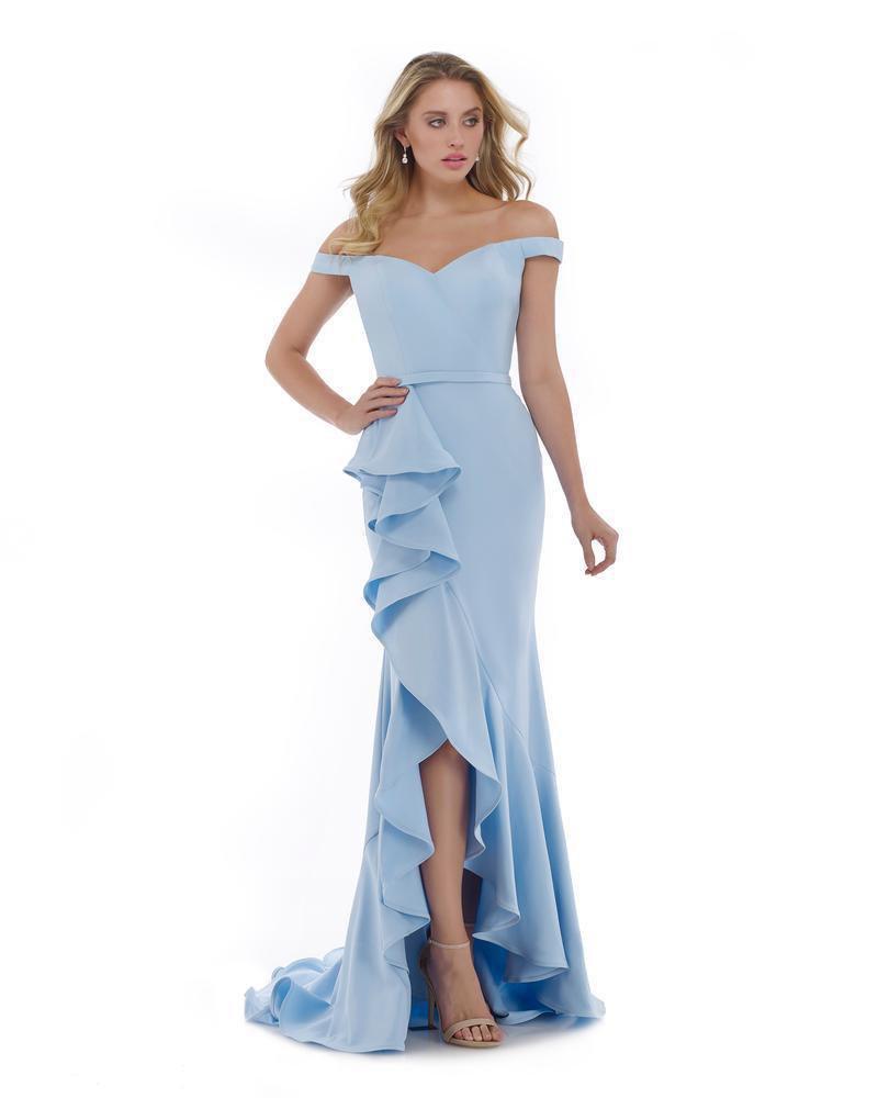 Morrell Maxie - 16042 Off-Shoulder Stretch Crepe Ruffled Trumpet Dress
