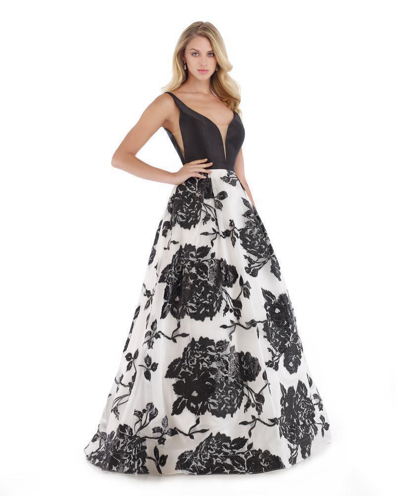 Morrell Maxie - 16043 Mikado Deep V-neck Brocade A-line Dress