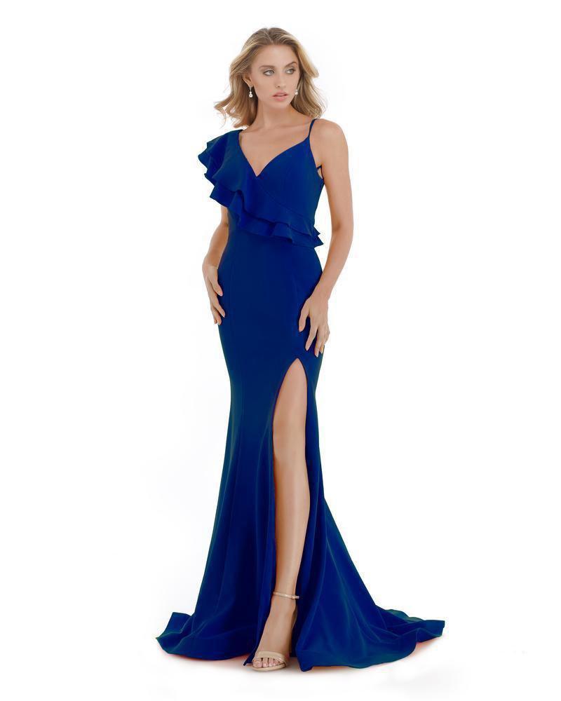 Morrell Maxie - 16061 Ruffled V-neck Scuba Mermaid Dress