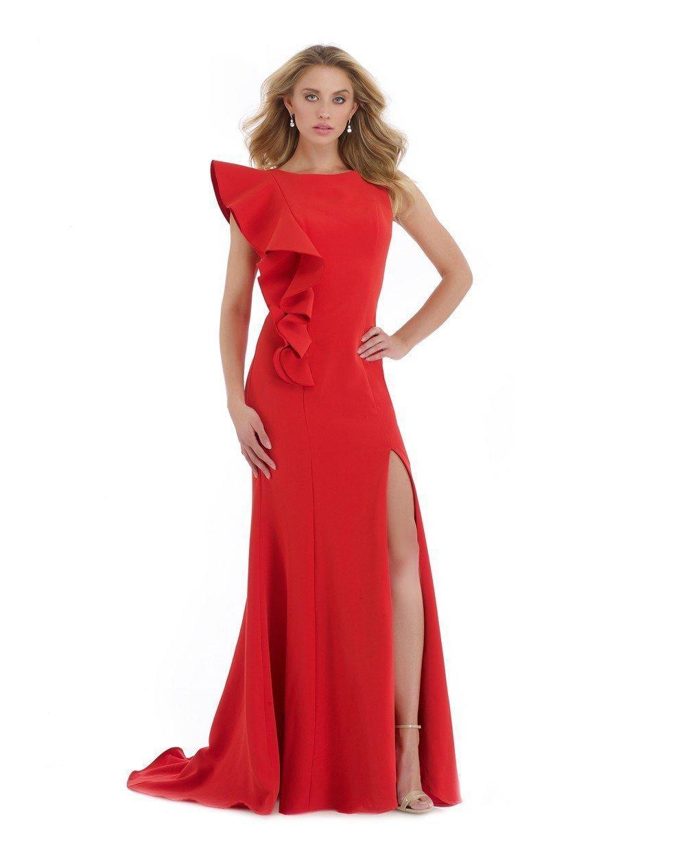 Morrell Maxie - 16063 Ruffled Bateau Sheath Evening Dress