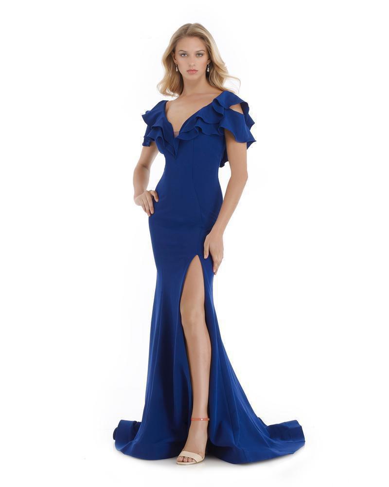 Morrell Maxie - 16064 Ruffled Plunging V-neck Mermaid Dress