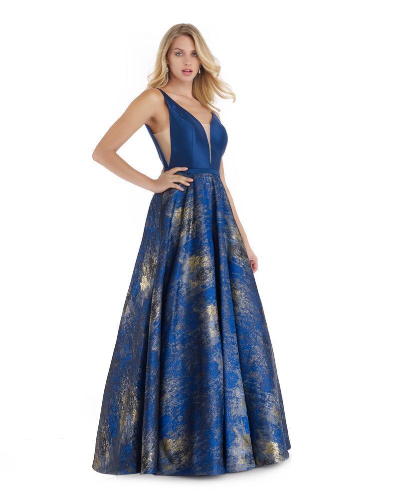 Morrell Maxie - 16067 Deep V-neck Metallic Jacquard A-line Dress