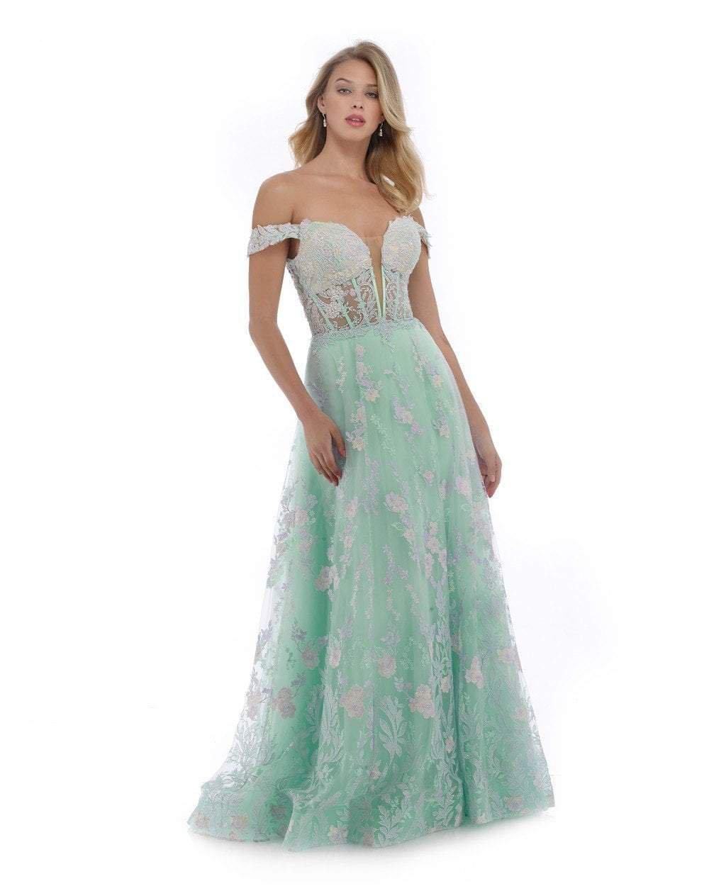 Morrell Maxie - 16085 Floral Appliques Off-Shoulder A-Line Gown