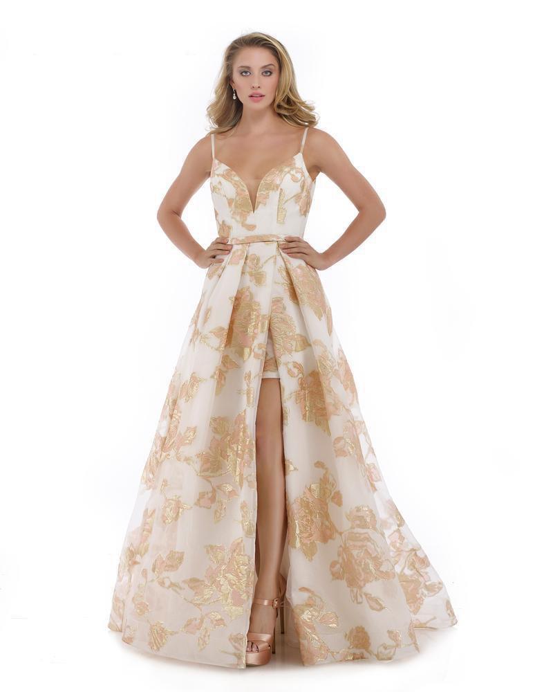 Morrell Maxie - 16091 Plunging V-neck Metallic Brocade A-line Dress