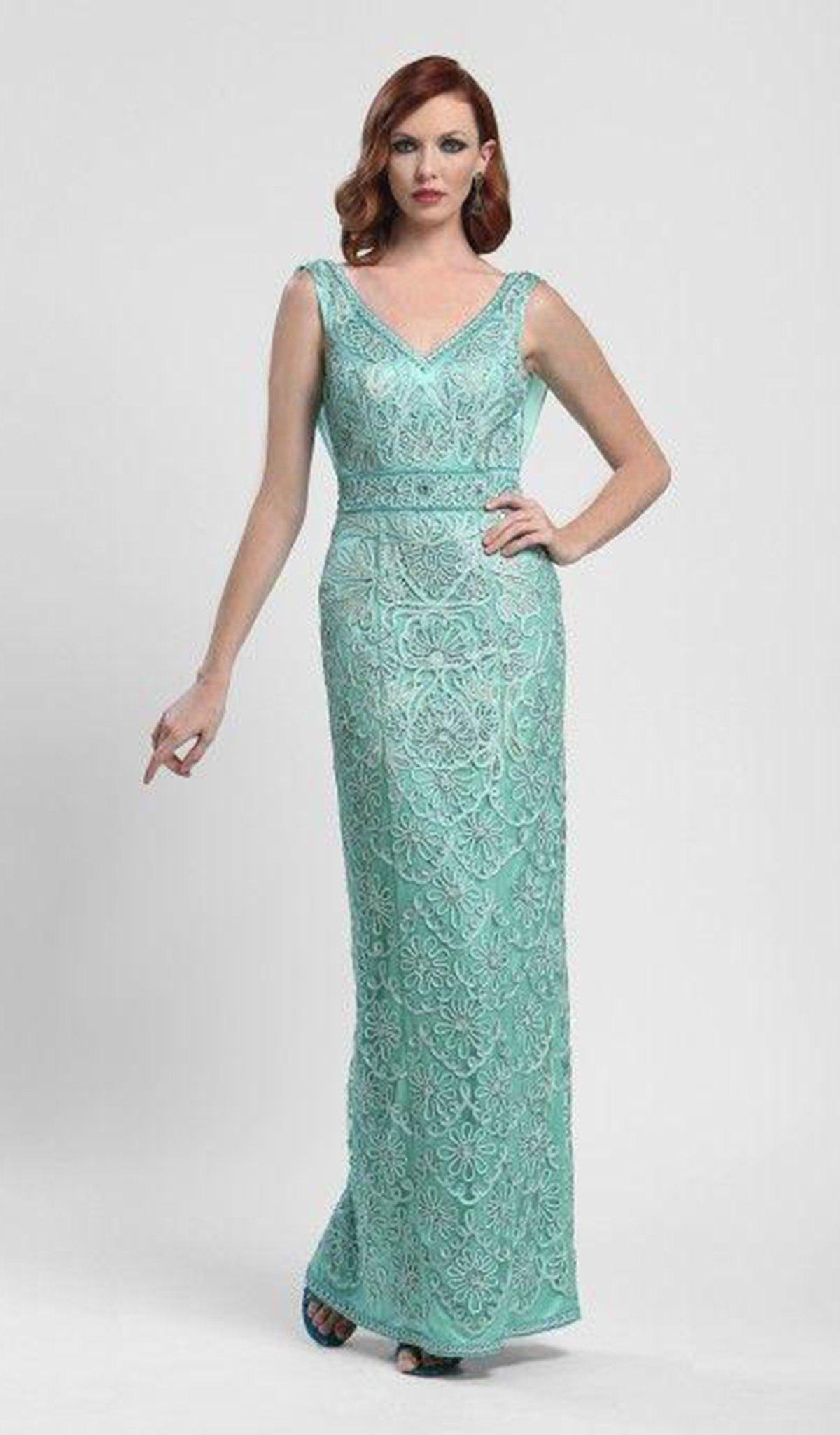 Sue Wong - N4110 Ribbon Embellished Cowl Evening Dress