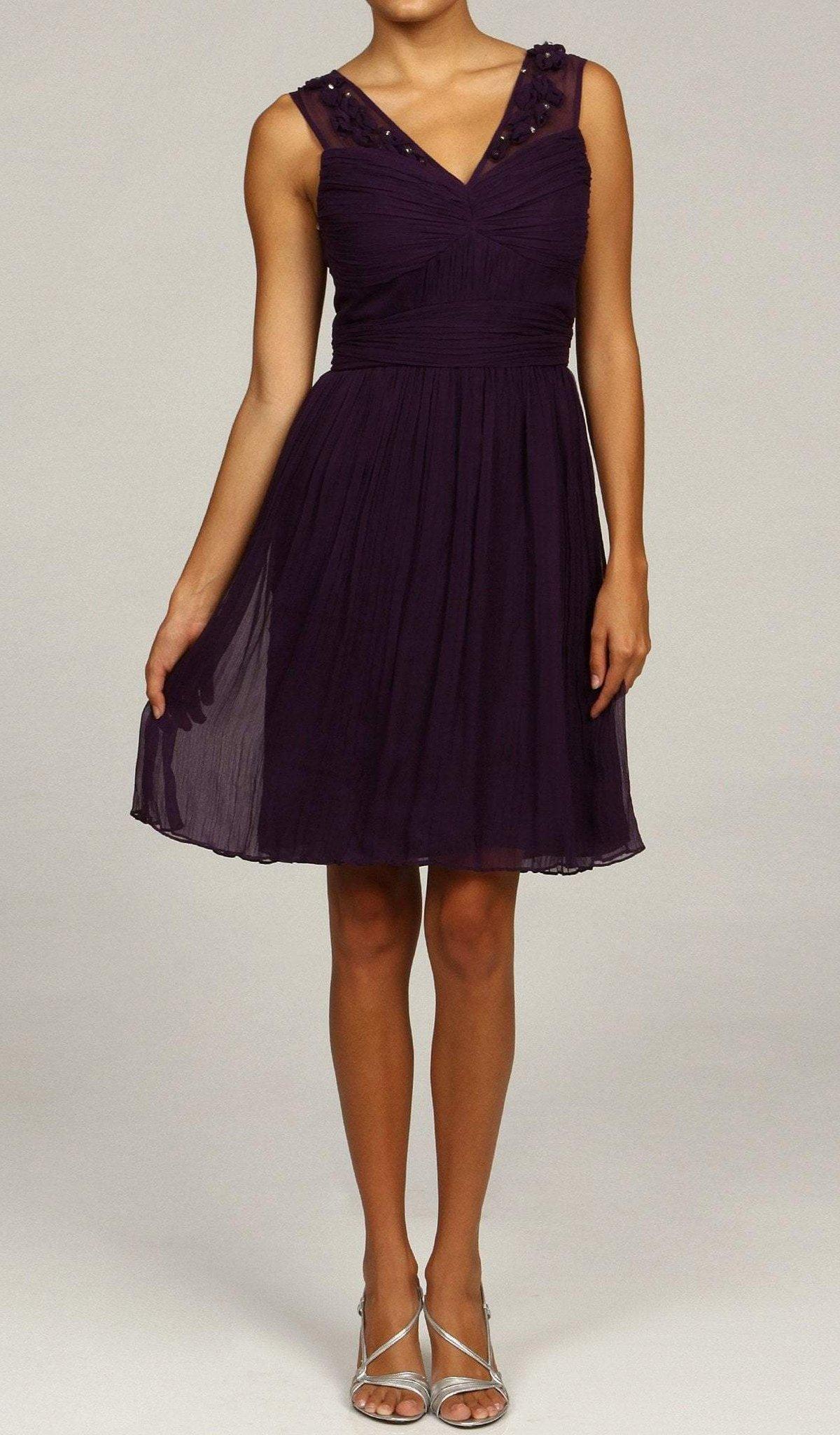 Taylor - 2342M Appliqued Shirr Bodice A-Line Dress